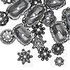 "Bead cap mix, gunmetal-finished ""pewter"" (zinc-based alloy), 6x2mm-18x6mm mixed shapes. Sold per pkg of 50."