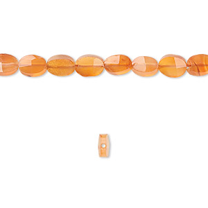 Bead, carnelian (dyed / heated), 6x5mm faceted oval, B grade, Mohs hardness 6-1/2 to 7. Sold per 16-inch strand.