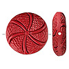 Bead, cinnabar (imitation), red, 27x8mm carved flat round with flower design. Sold per pkg of 2.