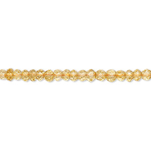 Bead, citrine (dyed / heated), 3x2mm hand-cut faceted rondelle, B grade, Mohs hardness 7. Sold per 16-inch strand.