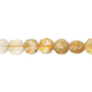 Bead, citrine (heated), shaded, 7-8mm hand-cut faceted puffed flat round, B- grade, Mohs hardness 7. Sold per 8-inch strand.