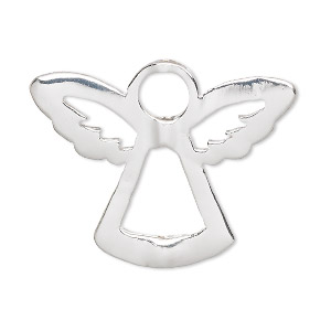 "Bead frame, silver-finished ""pewter"" (zinc-based alloy), 35x28mm angel, fits up to 6mm and 8mm bead. Sold per pkg of 2."