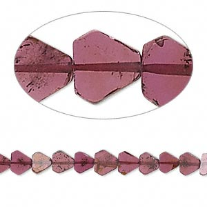 Bead, garnet (dyed), 5x4mm-8x5mm hand-cut flat 6-sided diamond, B- grade, Mohs hardness 7 to 7-1/2. Sold per 16-inch strand.