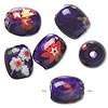 Bead, glass, opaque purple and multicolored, 15x13mm barrel with floral design. Sold per pkg of 6.