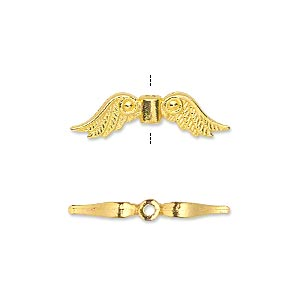 "Bead, gold-finished ""pewter"" (zinc-based alloy), 23x6mm double-sided angel wings. Sold per pkg of 20."