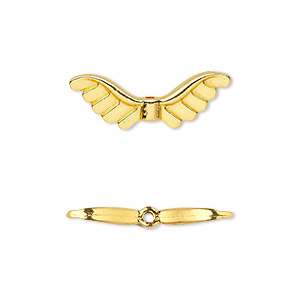 "Bead, gold-finished ""pewter"" (zinc-based alloy), 24x8mm double-sided angel wings. Sold per pkg of 20."