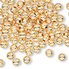 Bead, gold-plated brass, 5mm corrugated round. Sold per pkg of 1,000.