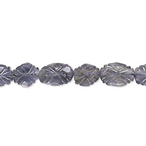 Bead, iolite (dyed), 7mm-12x8mm hand-cut carved faceted puffed oval, C grade, Mohs hardness 7 to 7-1/2. Sold per 14-inch strand.