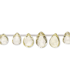Bead, lemon quartz (heated), 6x4mm-10x7mm graduated hand-cut top-drilled faceted puffed teardrop, B grade, Mohs hardness 7. Sold per 4-inch strand, approximately 10 beads.