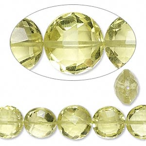 Bead, lemon quartz (heated), 9x6mm-10x7mm hand-cut faceted puffed flat round, B grade, Mohs hardness 7. Sold per 8-inch strand, approximately 15 beads.