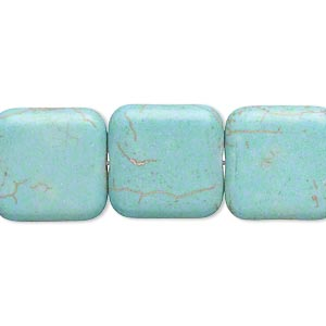 Bead, magnesite (dyed / stabilized), teal green, 16x16mm rounded flat square, C grade, Mohs hardness 3-1/2 to 4. Sold per 16-inch strand.