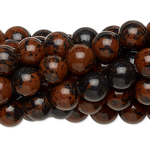 Bead, mahogany obsidian (natural), 8mm round, C grade, Mohs hardness 5 to 5-1/2. Sold per pkg of (10) 16-inch strands.