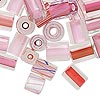 Bead mix, Fire Design Beads cane glass, pink and red, mixed size and shape. Sold per 1-pound pkg, approximately 320-560 beads.