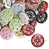 Bead mix, acrylic, mixed colors, 18mm double-sided flat round with horseshoe design, 2mm hole. Sold per pkg of 50.