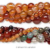 Bead mix, agate (natural / dyed), 4-12mm mixed shape. C grade, Mohs hardness 6-1/2 to 7. Sold per pkg of (5) 15-inch strands.