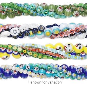 Bead mix, millefiori glass, multicolored, 4x4mm-12x12mm mixed shapes. Sold per pkg of (5) 16-inch strands.