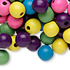 Bead mix, painted wood, mixed colors, 13-14mm irregular round. Sold per 90-gram pkg, approximately 110 beads.