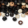 Bead mix, painted wood, mixed colors, 6-7mm irregular round. Sold per 400-gram pkg, approximately 5,500 beads.