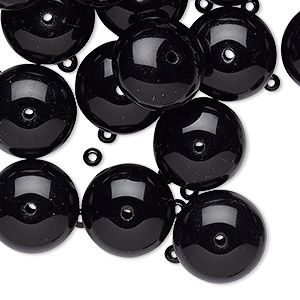 Bead mix, vintage Czech glass, opaque black, 3x2mm and 14x9mm rondelle. Sold per pkg of 65.