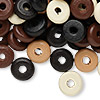 Bead mix, wood, mixed colors, 11x3mm rondelle. Sold per 90-gram pkg, approximately 560 beads.