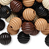 Bead mix, wood, mixed colors, 15-16mm fluted round. Sold per 90-gram pkg, approximately 80 beads.