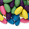 Bead mix, wood, mixed colors, 20x11mm fluted oval. Sold per 90-gram pkg, approximately 100 beads.