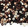 Bead mix, wood, mixed colors, 3x2mm heishi. Sold per 90-gram pkg, approximately 9,000 beads.
