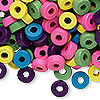 Bead mix, wood, mixed colors, 8x3mm rondelle. Sold per 400-gram pkg, approximately 4,500 beads.
