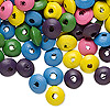 Bead mix, wood, mixed colors, 8x4mm rondelle. Sold per 90-gram pkg, approximately 1,200 beads.