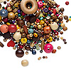Bead mix, wood (natural / dyed), mixed colors, 4x3mm-40x20mm mixed shape. Sold per 100-gram pkg, approximately 320-560 beads.