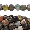 Bead, multi-gemstone (natural / dyed / coated), medium pebble. Sold per pkg of (10) 16-inch strands.