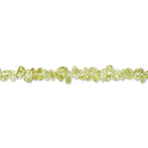 Bead, peridot (natural), mini chip, Mohs hardness 6-1/2 to 7. Sold per 18-inch strand.