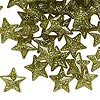 Bead, plastic, translucent olive green with gold-colored glitter, 11x11mm faceted flat star. Sold per pkg of 144 (1 gross).