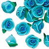 Bead, polymer clay, dark blue / blue / green, 12x12mm rose. Sold per pkg of 24.