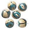 Bead, pressed glass, opaque tan/blue/black, 16mm round with swirl design. Sold per pkg of 6.