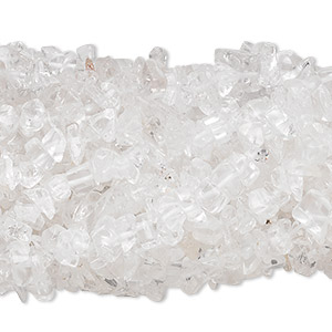 Bead, quartz crystal (natural), medium chip with 0.5-1.5mm hole, Mohs hardness 7. Sold per pkg of (10) 34-inch strands.