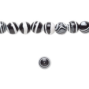 Bead, resin, black and white, 6mm round. Sold per 16-inch strand.