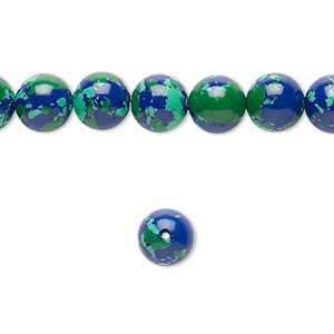 Bead, resin, dark blue / green / turquoise blue, 8mm round. Sold per 16-inch strand.