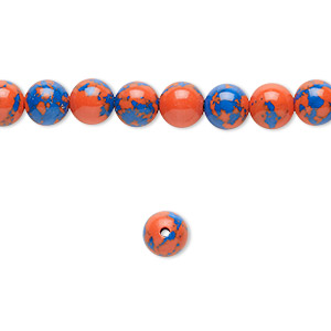 Bead, resin, dark blue and orange, 6mm round. Sold per 16-inch strand.