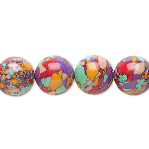 Bead, resin, multicolored, 12mm round with mosaic design. Sold per 16-inch strand.