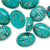 Bead, turquoise (dyed / stabilized), blue-green, 16x12mm hand-cut double-sided carved scarab, B grade, Mohs hardness 5 to 6. Sold per pkg of 10.