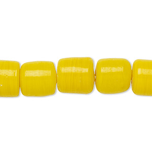 Bead, vintage India glass, opaque yellow, 10-12mm round tube. Sold per 10-inch strand.
