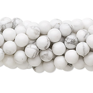 Bead, white howlite (natural), 6mm round, C grade, Mohs hardness 3 to 3-1/2. Sold per pkg of (10) 16-inch strands.