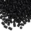 Bead, wood (coated), black, 10x6mm hand-cut rippled tube. Sold per pkg of 450-500.