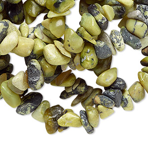 "Bead, yellow ""turquoise"" (natural), medium chip, Mohs hardness 2-1/2 to 6. Sold per 34-inch strand."