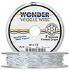 Beading wire, Wonder Wiggle Wire®, stainless steel and nylon, white, 0.02-inch diameter. Sold per 15-foot spool.
