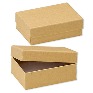 Box, kraft paper, cotton-filled, 3-1/4 x 2-1/4 x 1-inch rectangle. Sold per pkg of 100.
