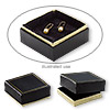 Box, paper and velvet, black and gold, 3-1/2 x 2-1/2 x 5/8 inches. Sold per pkg of 144 (1 gross).