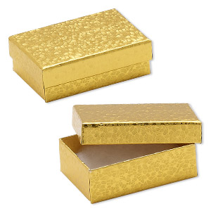 Box, paper, cotton-filled, gold, 3-1/4 x 2-1/4 x 1-inch rectangle. Sold per pkg of 100.