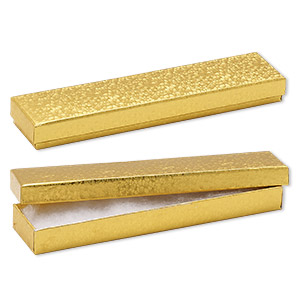 Box, paper, cotton-filled, gold, 8-1/8 x 1-7/8 x 7/8 inch rectangle. Sold per pkg of 100.